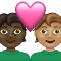 Couple with Heart: Person, Person, Dark Skin Tone, Medium Skin Tone on Emojipedia 13.1