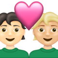 Couple with Heart: Person, Person, Light Skin Tone, Medium-Light Skin Tone on Emojipedia 13.1