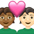 Couple with Heart: Person, Person, Medium-Dark Skin Tone, Light Skin Tone on Emojipedia 13.1