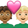 Couple with Heart: Person, Person, Medium-Dark Skin Tone, Medium-Light Skin Tone on Emojipedia 13.1