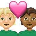 Couple with Heart: Person, Person, Medium-Light Skin Tone, Medium-Dark Skin Tone on Emojipedia 13.1
