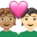 Couple with Heart: Person, Person, Medium Skin Tone, Light Skin Tone on Emojipedia 13.1