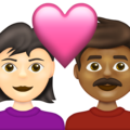 Couple with Heart: Woman, Man, Light Skin Tone, Medium-Dark Skin Tone on Emojipedia 13.1