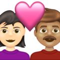 Couple with Heart: Woman, Man, Light Skin Tone, Medium Skin Tone on Emojipedia 13.1