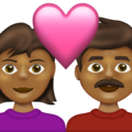Couple with Heart: Woman, Man, Medium-Dark Skin Tone on Emojipedia 13.1