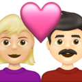 Couple with Heart: Woman, Man, Medium-Light Skin Tone, Light Skin Tone on Emojipedia 13.1