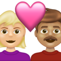 Couple with Heart: Woman, Man, Medium-Light Skin Tone, Medium Skin Tone on Emojipedia 13.1