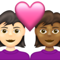 Couple with Heart: Woman, Woman, Light Skin Tone, Medium-Dark Skin Tone on Emojipedia 13.1