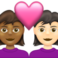 Couple with Heart: Woman, Woman, Medium-Dark Skin Tone, Light Skin Tone on Emojipedia 13.1