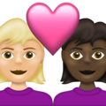 Couple with Heart: Woman, Woman, Medium-Light Skin Tone, Dark Skin Tone on Emojipedia 13.1
