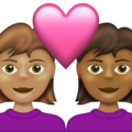Couple with Heart: Woman, Woman, Medium Skin Tone, Medium-Dark Skin Tone on Emojipedia 13.1