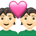 Couple With Heart: Light Skin Tone on Emojipedia 13.1