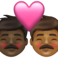 Kiss: Man, Man, Dark Skin Tone, Medium-Dark Skin Tone on Emojipedia 13.1