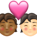 Kiss: Person, Person, Medium-Dark Skin Tone, Light Skin Tone on Emojipedia 13.1
