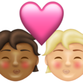 Kiss: Person, Person, Medium-Dark Skin Tone, Medium-Light Skin Tone on Emojipedia 13.1