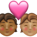 Kiss: Person, Person, Medium-Dark Skin Tone, Medium Skin Tone on Emojipedia 13.1