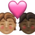 Kiss: Person, Person, Medium Skin Tone, Dark Skin Tone on Emojipedia 13.1