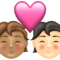 Kiss: Person, Person, Medium Skin Tone, Light Skin Tone on Emojipedia 13.1