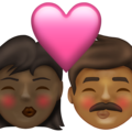 Kiss: Woman, Man, Dark Skin Tone, Medium-Dark Skin Tone on Emojipedia 13.1