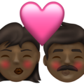 Kiss: Woman, Man, Dark Skin Tone on Emojipedia 13.1