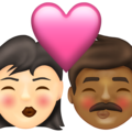 Kiss: Woman, Man, Light Skin Tone, Medium-Dark Skin Tone on Emojipedia 13.1