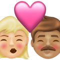 Kiss: Woman, Man, Medium-Light Skin Tone, Medium Skin Tone on Emojipedia 13.1