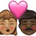 Kiss: Woman, Man, Medium Skin Tone, Dark Skin Tone on Emojipedia 13.1