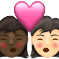 Kiss: Woman, Woman, Dark Skin Tone, Light Skin Tone on Emojipedia 13.1
