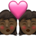 Kiss: Woman, Woman, Dark Skin Tone on Emojipedia 13.1