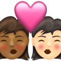 Kiss: Woman, Woman, Medium-Dark Skin Tone, Light Skin Tone on Emojipedia 13.1