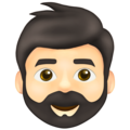 Man: Light Skin Tone, Beard on Emojipedia 13.1