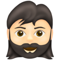 Woman: Light Skin Tone, Beard on Emojipedia 13.1
