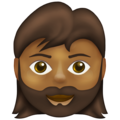 Woman: Medium-Dark Skin Tone, Beard on Emojipedia 13.1