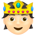 Person with Crown: Light Skin Tone on Emojipedia 14.0