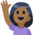 Woman Raising Hand: Medium-Dark Skin Tone on Facebook 2.2.1