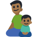 Family - Man: Medium-Dark Skin Tone, Boy: Medium-Dark Skin Tone on Facebook 3.0