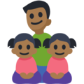 Family - Man: Medium-Dark Skin Tone, Girl: Medium-Dark Skin Tone, Girl: Medium-Dark Skin Tone on Facebook 3.0