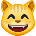 Grinning Cat Face With Smiling Eyes on Facebook 3.0