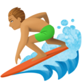 Man Surfing: Medium Skin Tone on Facebook 3.0