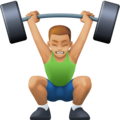 Man Lifting Weights: Medium-Light Skin Tone on Facebook 3.0