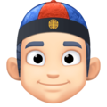 Man With Chinese Cap: Light Skin Tone on Facebook 3.0