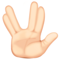 Vulcan Salute: Light Skin Tone on Facebook 3.0
