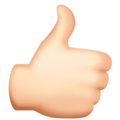 Thumbs Up: Light Skin Tone on Facebook 3.0