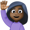 Woman Raising Hand: Dark Skin Tone on Facebook 3.0