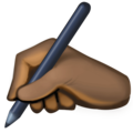 Writing Hand: Dark Skin Tone on Facebook 3.0