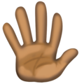 Hand With Fingers Splayed: Dark Skin Tone on Facebook 3.1