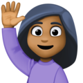 Woman Raising Hand: Medium-Dark Skin Tone on Facebook 3.1