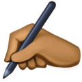 Writing Hand: Medium-Dark Skin Tone on Facebook 3.1