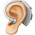 Ear with Hearing Aid: Medium-Light Skin Tone on Facebook 4.0