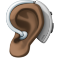 Ear with Hearing Aid: Dark Skin Tone on Facebook 4.0